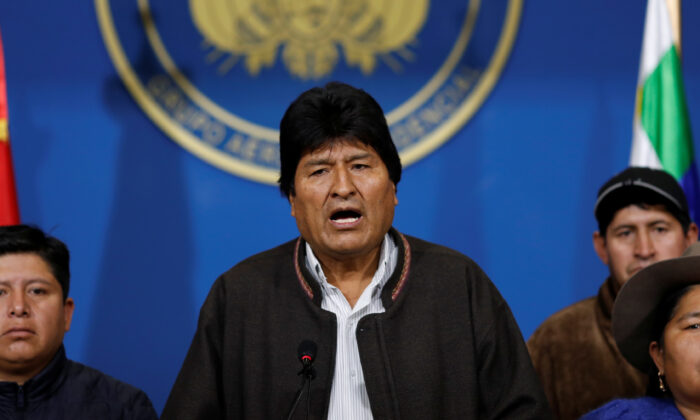 Bolivia's President Evo Morales addresses the media at the presidential hangar in the Bolivian Air Force terminal in El Alto, Bolivia, on Nov. 10, 2019. (Carlos Garcia Rawlins/Reuters)