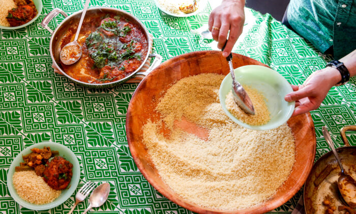 At the Arazis' table, couscous takes center stage. (Samira Bouaou/The Epoch Times)