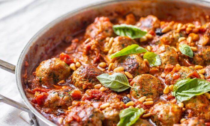 Tuna meatballs in a tomato, eggplant, and harissa sauce. (Maria Midoes for New York Shuk)
