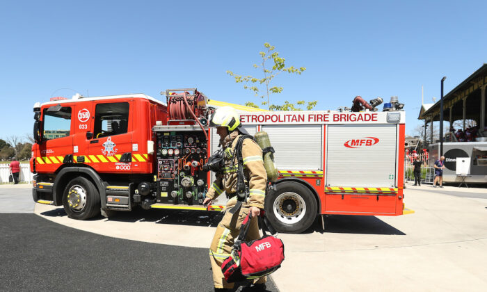Firemen arrive after a fire alarm stopped at CitiPower Centre on Oct. 23, 2019 in Melbourne, Australia. (Robert Cianflone/Getty Images)