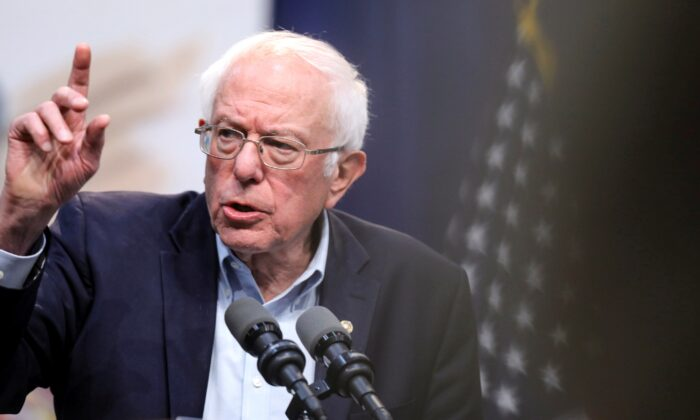 Democratic presidential candidate Sen. Bernie Sanders (I-Vt.) speaks during an event at Drake University in Des Moines, Iowa on Nov. 9, 2019. (Scott Morgan/Reuters)