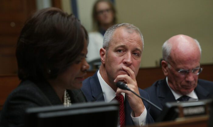 Rep. Patrick Maloney (D-N.Y.) (C) listens as Acting Director of National Intelligence Joseph Maguire testifies before the House Select Committee on Intelligence in the Rayburn House Office Building on Capitol Hill in Washington on Sept. 26, 2019. (Alex Wong/Getty Images)