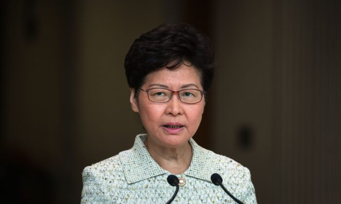 Hong Kong leader Carrie Lam takes part in her weekly press conference in Hong Kong on Oct. 15, 2019. (Mohd Rasfan/AFP via Getty Images)