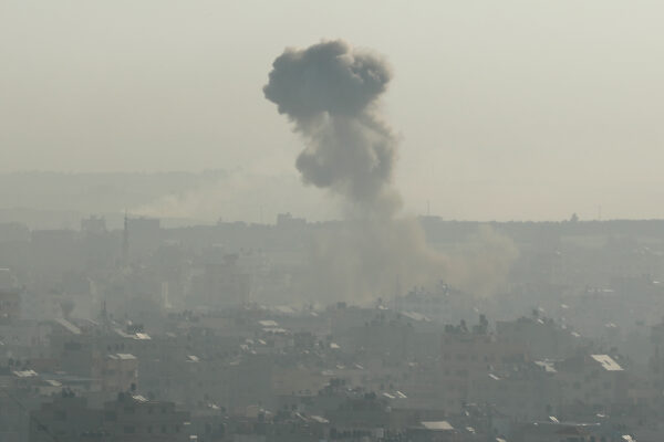 Smoke rises following an explosion in Gaza