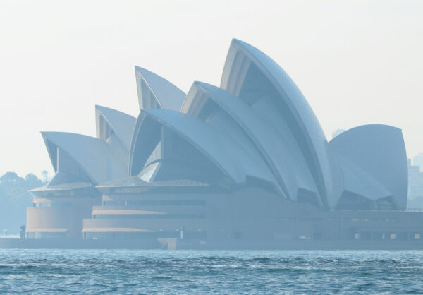 Sydney Opera House in smoke