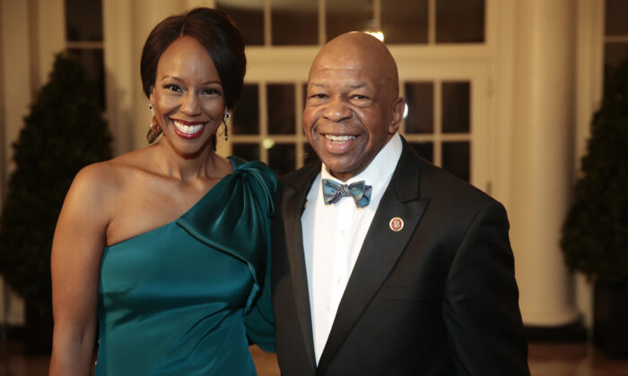 Elijah Cummings and Maya Rockeymoore Cummings at the White House in Washington, on Feb. 11, 2014. (Andrew Harrer-Pool/Getty Images)
