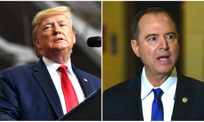 (L) President Donald Trump pauses as he speaks during a rally at the Monroe Civic Center in Monroe, Louisiana on Nov. 6, 2019. (Mandel Ngan/AFP via Getty Images) 