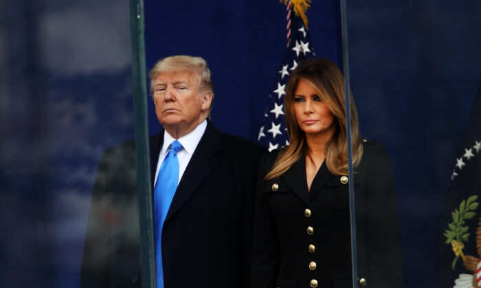 President Donald Trump and First Lady Melania Trump attend the opening ceremony of the Veterans Day Parade in New York City on Nov. 11, 2019. (Spencer Platt/Getty Images)