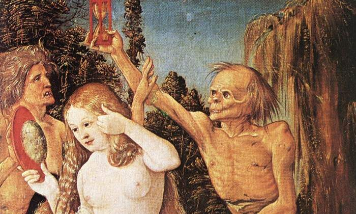 """A detail from """"Three Ages of Woman and Death"""" 1510, by Hans Baldung. Private Collection. (Public Domain)"""