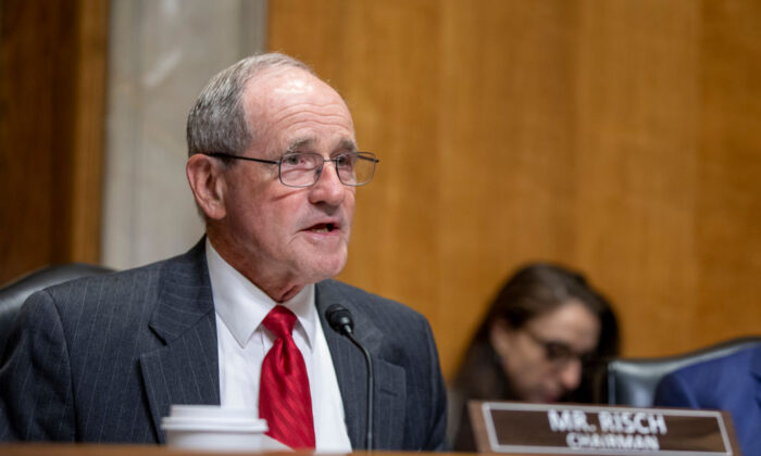 Chairman James Risch speaks to Brian Hook, State Department Special Representative for Iran, as he testifies during a hearing held by the Senate Foreign Relations Committee in Washington, on Oct. 16, 2019. (Tasos Katopodis/Getty Images)