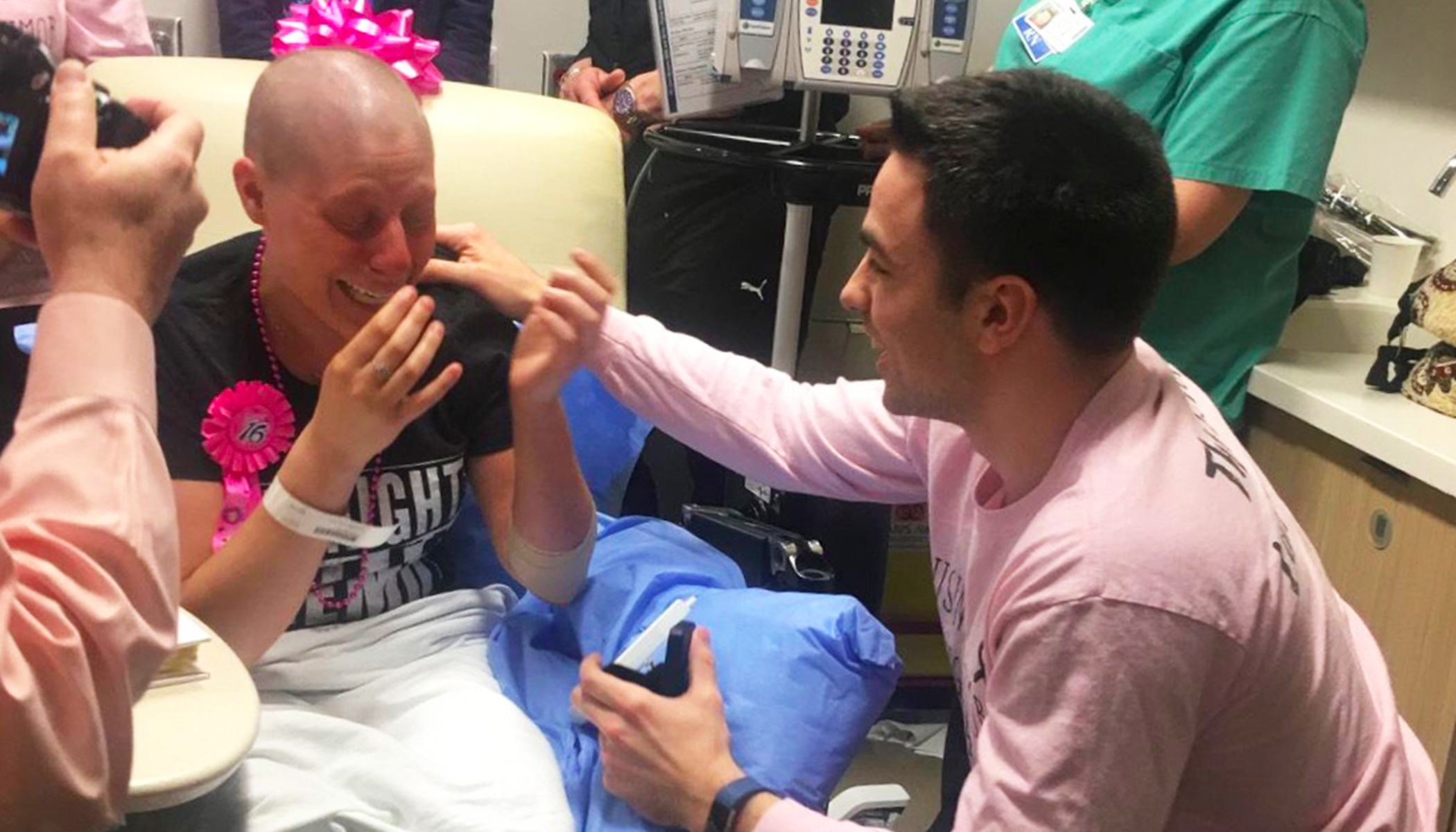 Loyal boyfriend who stuck with girlfriend during breast cancer proposes on her last day of chemo
