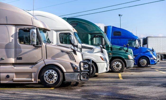 This undated file photo shows trucks lined up at a rest stop. (Shutterstock)