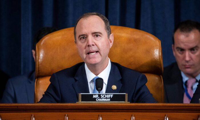 House Intelligence Chairman Adam Schiff (D-Calif.) speaks at the open impeachment hearing in Washington on Nov. 13, 2019. (Jim Lo Scalzo/Pool/AFP via Getty Images)