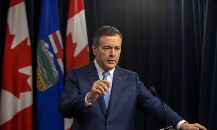 Alberta Premier Jason Kenney speaks to the media in Edmonton on Oct. 22, 2019. (The Canadian Press/Amber Bracken)