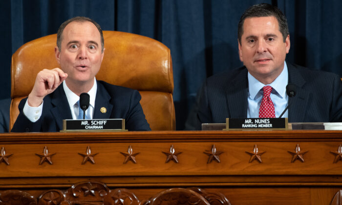 House Intelligence Chairman Adam Schiff (D-Calif.) (L) and Ranking Member Devin Nunes (R-Calif.) during the first public hearings held by the House Intelligence Committee as part of the impeachment inquiry into President Donald Trump on Capitol Hill in Washington on Nov. 13, 2019. (Saul Loeb/Pool/AFP via Getty Images)