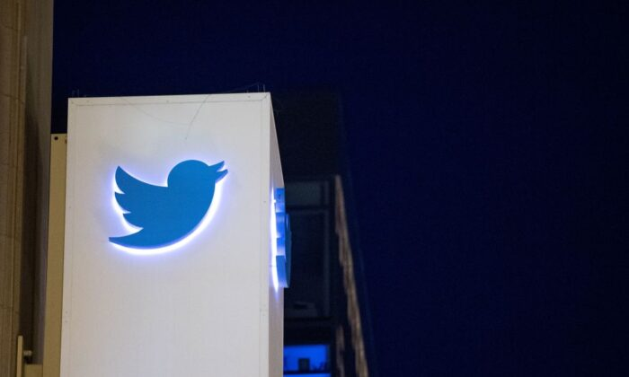 The Twitter logo on a sign at the company's  headquarters in San Francisco on Nov. 4, 2016. (Josh Edelson/AFP via Getty Images)