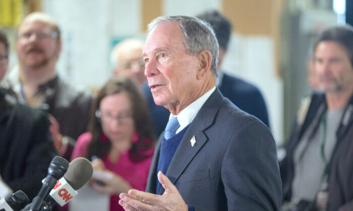 Former New York City Mayor Michael Bloomberg speaks with the media after touring the W.H. Bagshaw Co. during an exploratory trip in Nashua, N.H., on Jan. 29, 2019. (Scott Eisen/Getty Images)