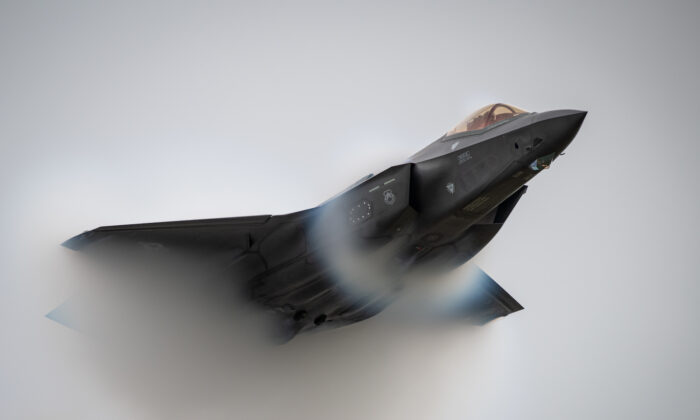 An F-35 performs a high-speed pass during the Oregon International Airshow in McMinnville, Ore., on Sept. 21, 2019. (U.S. Air Force Photo by Senior Airman Alexander Cook)