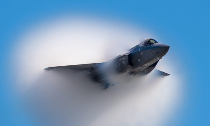An F-35 performs aerial maneuvers during the Wings Over Houston Airshow in Houston, Texas on Oct. 18, 2019. (U.S. Air Force photo by Senior Airman Alexander Cook)