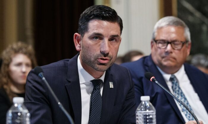 The acting undersecretary of the Department of National Security, Chad Wolf, makes statements during a meeting of the Interagency Presidential Special Force for Surveillance and the Fight against Trafficking in Persons, in the White House, Washington, on Oct. 29, 2019. (Alex Brandon/AP)