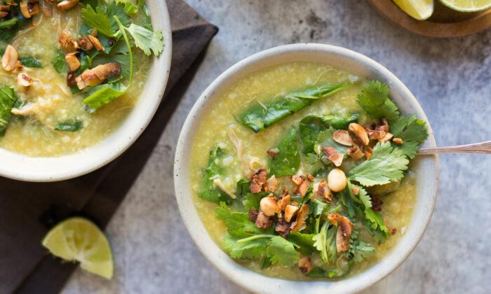 Healing chicken and rice soup. (Caroline Chambers)