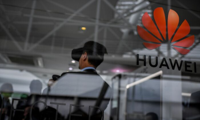 Chinese telecom giant Huawei has a stand at the Web Summit in Lisbon, Portugal on Nov. 6, 2019. (Patricia De Melo Moreira/AFP via Getty Images)