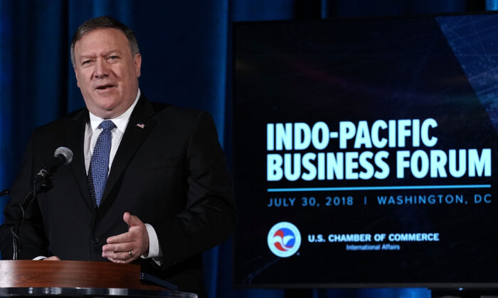 U.S. Secretary of State Mike Pompeo speaks during the Indo-Pacific Business Forum at the U.S. Chamber of Commerce (USCC) in Washington on July 30, 2018. (Alex Wong/Getty Images)