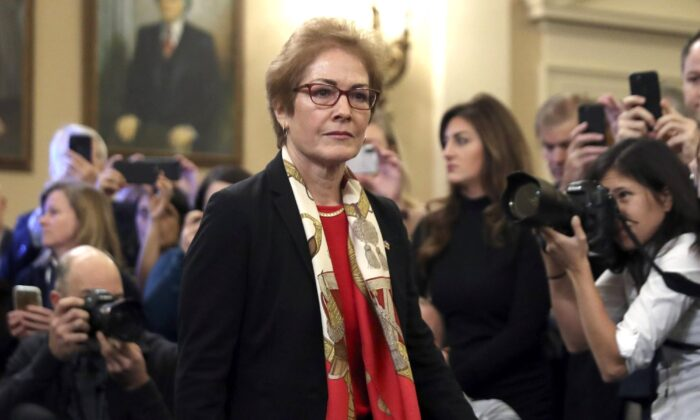 Former U.S. Ambassador to Ukraine Marie Yovanovitch arrives to testify to the House Intelligence Committee on Capitol Hill in Washington, on Nov. 15, 2019. (Andrew Harnik/AP Photo)
