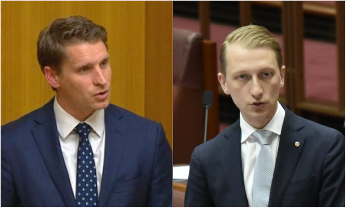L: Andrew Hastie, Liberal MP, speaks at Australian Parliament in May 2018. (Commonwealth of Australia) R: Senator James Paterson speaks in the Senate at Parliament House on Nov. 28, 2017 in Canberra, Australia. (Michael Masters/Getty Images)