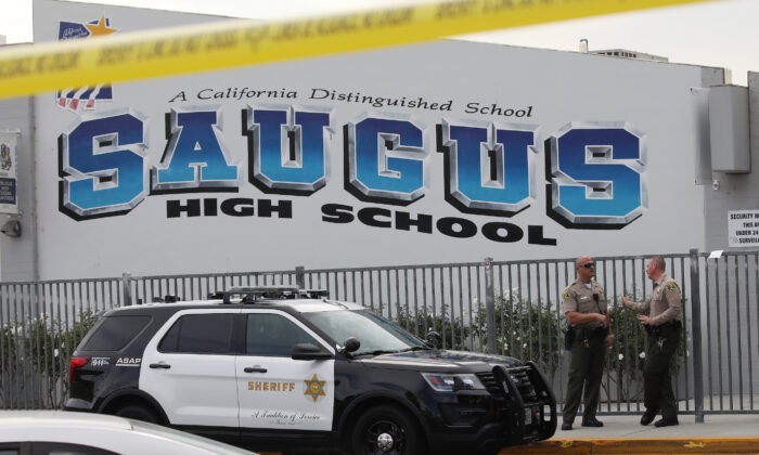 L.A. County Sheriff's Deputies are positioned at Saugus High School after a deadly shooting there in Santa Clarita, Calif., on Nov. 15, 2019. (Mario Tama/Getty Images)