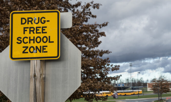 Drug-free school zone sign in front of a high school. (Timur Laykov/Shutterstock)