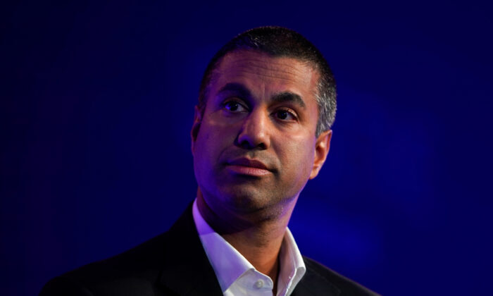 Ajit Pai, Chairman of the Federal Communications Commission, speaks at the WSJTECH Live conference in Laguna Beach, California, Oct. 21, 2019.    (REUTERS/Mike Blake)