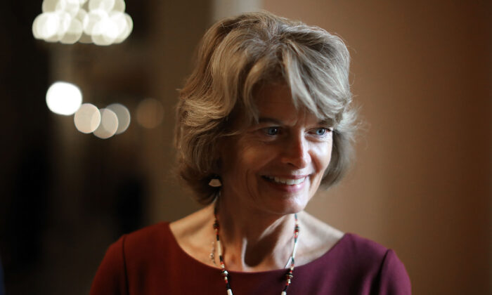 Sen. Lisa Murkowski (R-Alaska) is interviewed  following the GOP weekly policy luncheon at the U.S. Capitol in Washington on July 31, 2018. (Chip Somodevilla/Getty Images)