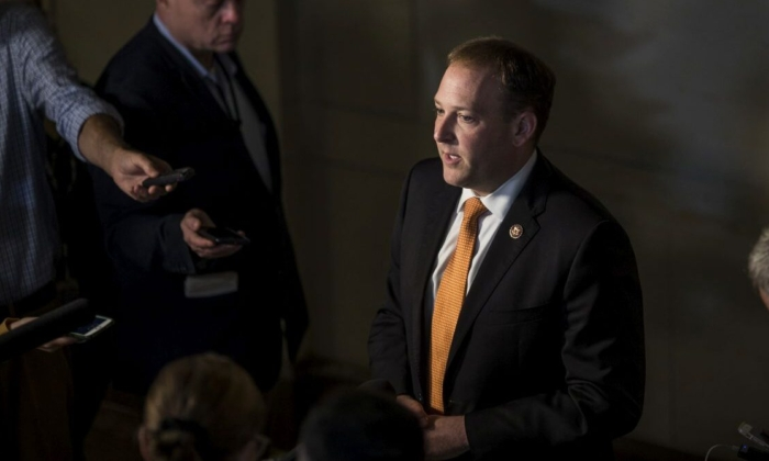 Rep. Lee Zeldin (R-NY) speaks to members of the press during a closed-door deposition of Former Special Envoy to Ukraine Kurt Volker led by the House Intelligence Committee on Capitol Hill on October 3, 2019 in Washington, DC. Volker resigned from his position on September 27.  (Photo by Zach Gibson/Getty Images)