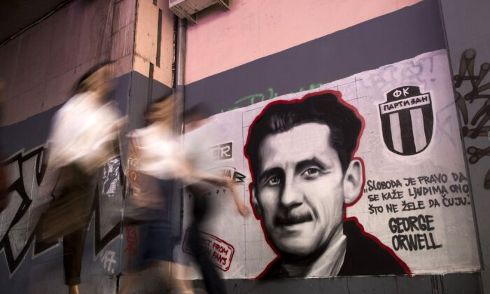 "A mural depicting British novelist George Orwell with the words ""Freedom is the right to tell people what they do not want to hear,"" in Belgrade, Serbia, on May 8, 2018. (Oliver Bunic/AFP via Getty Images)"
