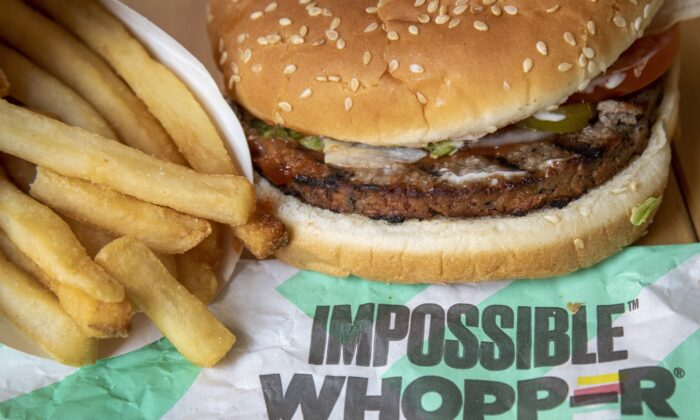 In this photo illustration, an Impossible Whopper sits on a table. (Drew Angerer/Getty Images)