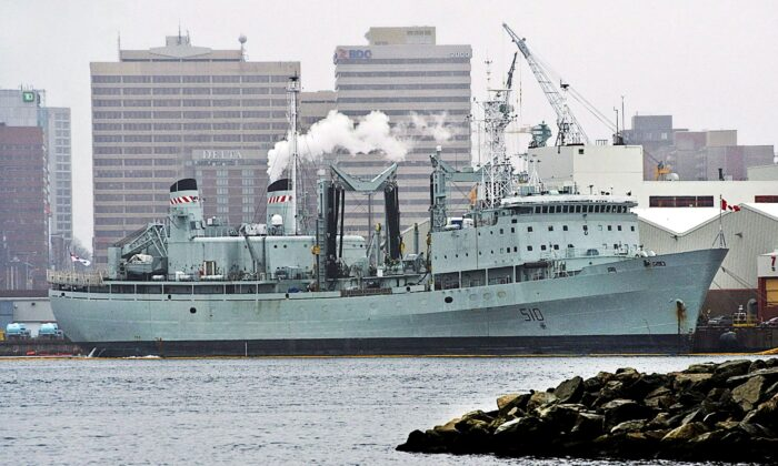 HMCS Preserver, a Royal Canadian Navy supply ship, is docked in Halifax on Feb. 5, 2014. The Navy's last operational support ship, the Preserver was retired in October 2016. A replacement is being built at Seaspan's Vancouver Shipyards. (The Canadian Press/Andrew Vaughan)