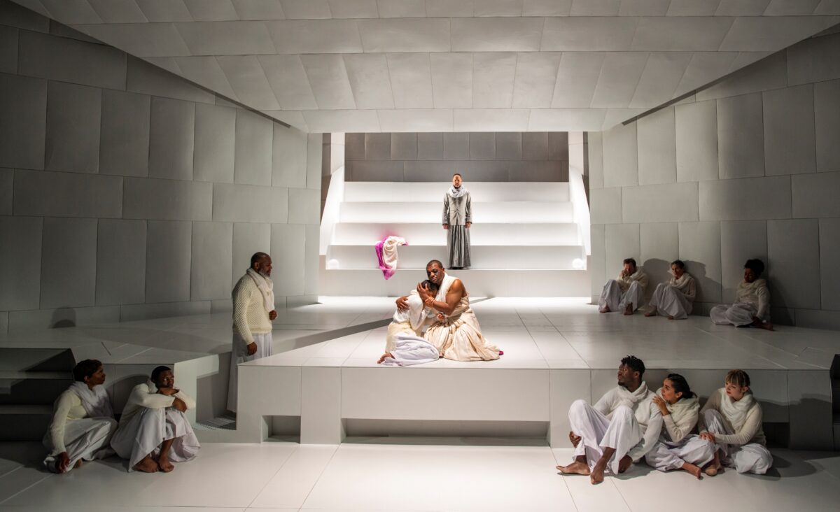 Aeriel Williams, Kelvin Roston, Jr. (center) and the cast of Oedipus Rex