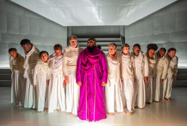 Kelvin Roston, Jr. (center) and the cast of Oedipus Rex