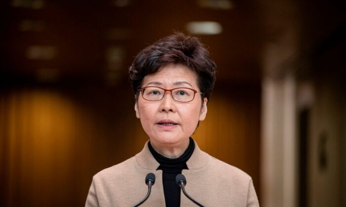Hong Kong leader Carrie Lam speaks during a press conference in Hong Kong on Nov. 19, 2019. (Nicolas Asfouri/AFP via Getty Images)