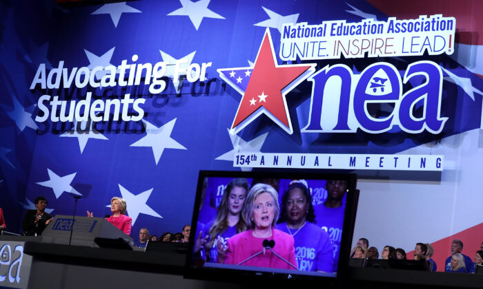 Democratic presidential candidate Hillary Rodham Clinton addresses the 95th Representative Assembly of the National Education Association in Washington on July 5, 2016. (Alex Wong/Getty Images)