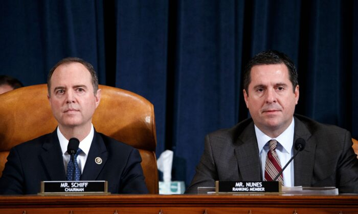 Democratic Chairman of the House Permanent Select Committee on Intelligence Adam Schiff (L) and Ranking member of the House Permanent Select Committee on Intelligence Devin Nunes (R) during the House Permanent Select Committee on Intelligence public hearing on the impeachment inquiry into President Donald Trump, on Capitol Hill in Washington on Nov. 19, 2019. (Shawn Thew/POOL/AFP via Getty Images)
