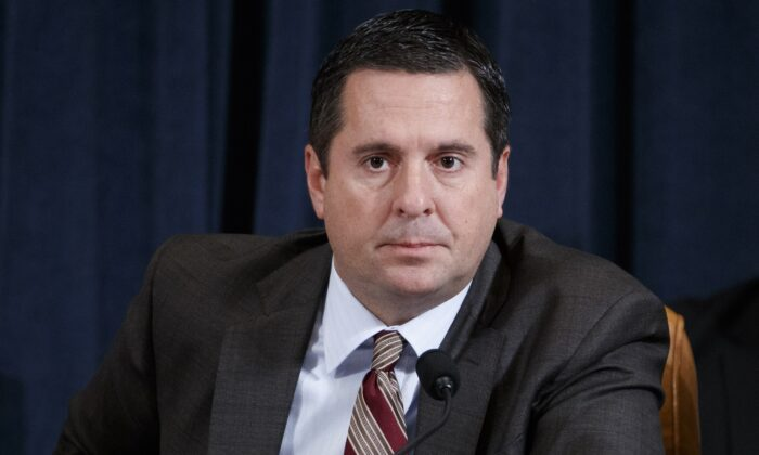 House Intelligence Ranking Member Devin Nunes (R-Calif.) questions National Security Council Director for European Affairs Lt. Col. Alexander Vindman during testimony before the House Intelligence Committee in the Longworth House Office Building on Capitol Hill in Washington on Nov. 19, 2019. (Shawn Thew-Pool/Getty Images)