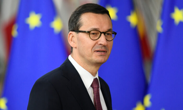 Poland's Prime Minister Mateusz Morawiecki arrives for the second day of the European Union leaders summit in Brussels on Oct. 18, 2019.  (Piroschka van de Wouw/Reuters/File Photo)
