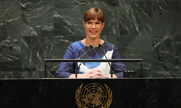 Estonian President Kersti Kaljulaid speaks to the 74th Session of the General Assembly at the United Nations headquarters in New York on Sept. 25, 2019. (Timothy A. Clary/ AFP via Getty Images)
