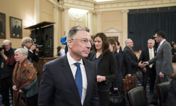 Former Special Envoy to Ukraine Kurt Volker exits following his testimony before the House Intelligence Committee during the impeachment hearings of President Donald Trump in Washington on Nov. 19, 2019.  Sarah Silbiger/Getty Images
