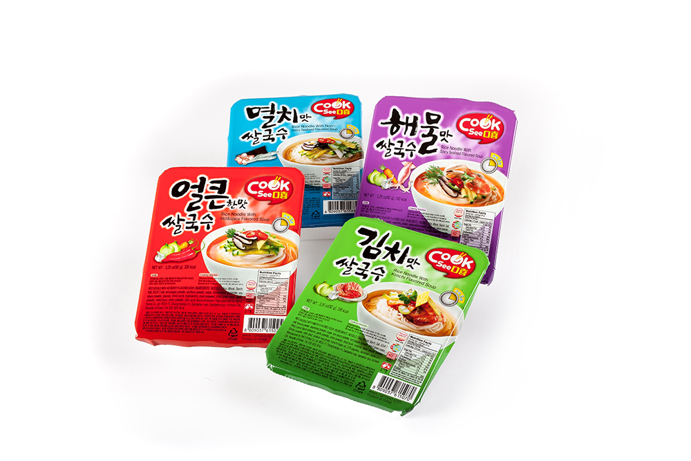 cooksee instant rice noodles in four flavors