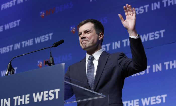 Democratic presidential candidate South Bend Mayor Pete Buttigieg speaks during a fundraiser for the Nevada Democratic Party in Las Vegas on Nov. 17, 2019. (John Locher/AP Photo)