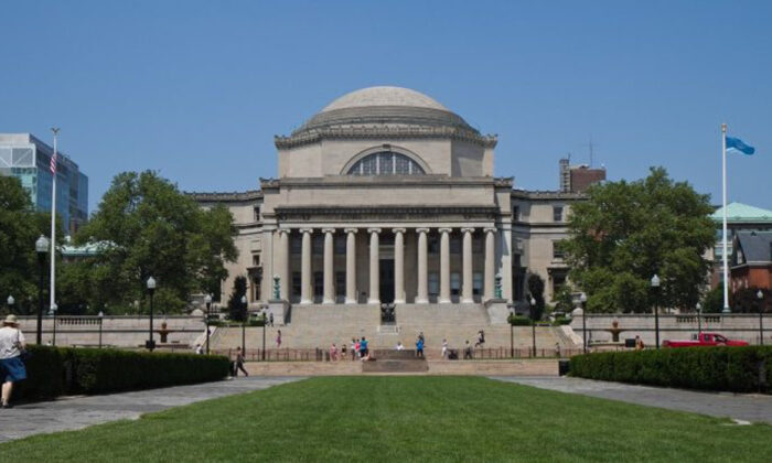 The campus of Columbia University with the Low Memorial Library in the foreground in Manhattan on June 21. (Benjamin Chasteen/The Epoch Times)