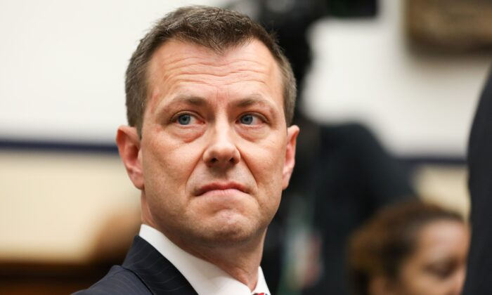 "FBI Deputy Assistant Director Peter Strzok testifies at the Committee on the Judiciary and Committee on Oversight and Government Reform Joint Hearing on, âOversight of FBI and DOJ Actions Surrounding the 2016 Election"" in Washington on July 12, 2018. (Samira Bouaou/The Epoch Times)"